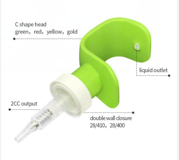 new design C head dispenser pump size 28mm right left plastic lotion pump
