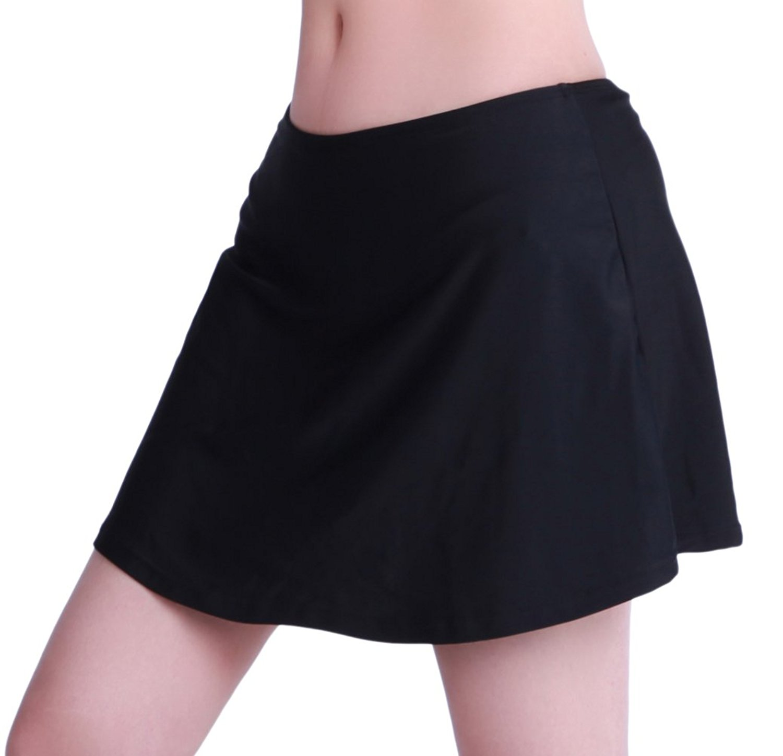 b9c57b1a55 Get Quotations · ZDUND Women's Solid Black Skirted Bikini Bottom High  Waisted Swim Bottom Swim Skirt Swimdress S M L XL