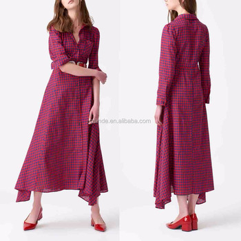 Red & Blue Gingham Button-Up Maxi Dress Women Fashion Long Sleeve Maxi Dresses Wholesale Custom Designs High Quality
