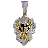 Hip Hop Men's Jewelry 14K Gold Micro Pave Brass CZ Iced Out Lion Head Pendant