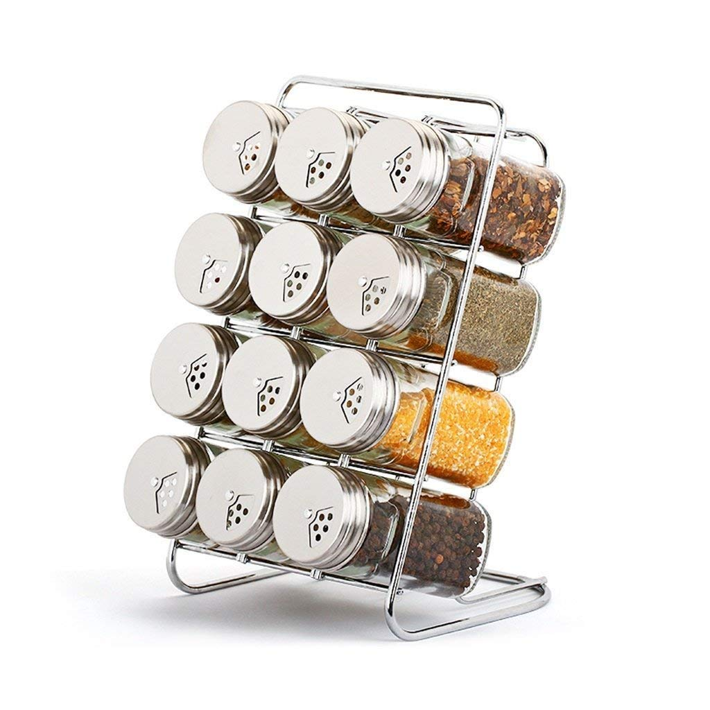 PLLP Seasoning Bottle Glass Condiment Bottles Seasoning Cans Seasoning Cans Seasoning Bottle Sets with Stainless Steel Cover Kitchen Seasoning Box (13 Assembled)