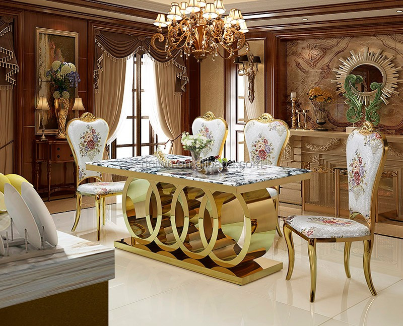 Luxury Marble Dining Table With Gold Stainless Steel Legs