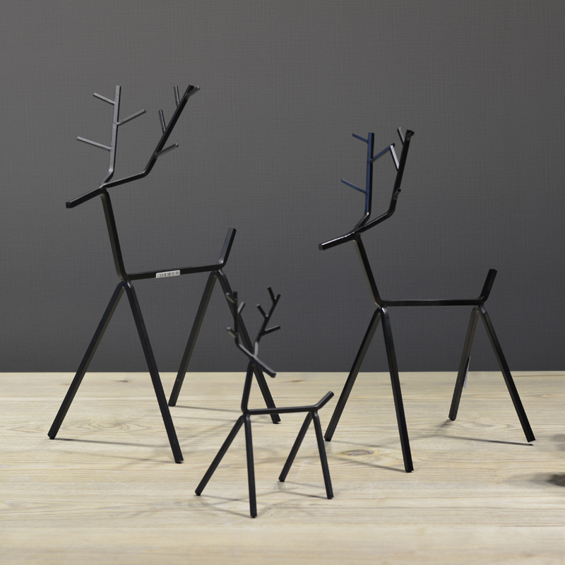 Scandinavian modern minimalist black wrought iron ornaments creative crafts black geometric Iron animal deer Home Decoration