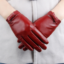 Leather Bowknot Adornment Goat Skin Driving Gloves for Women