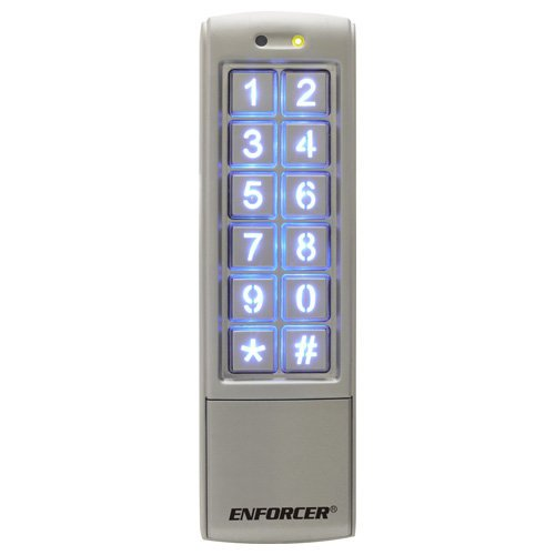 SECO-LARM SK-2323-SPQ Mullion-Style Weatherproof Digital Access Keypad; 12~24 VAC/VDC operation; 1,010 Users (Output #1: 1,000 users/Output #2:10 users); 2 Form C relays, each rated1 Amp @ 30VDC; Each relay has programmable output time from 1~99 secondsor toggle