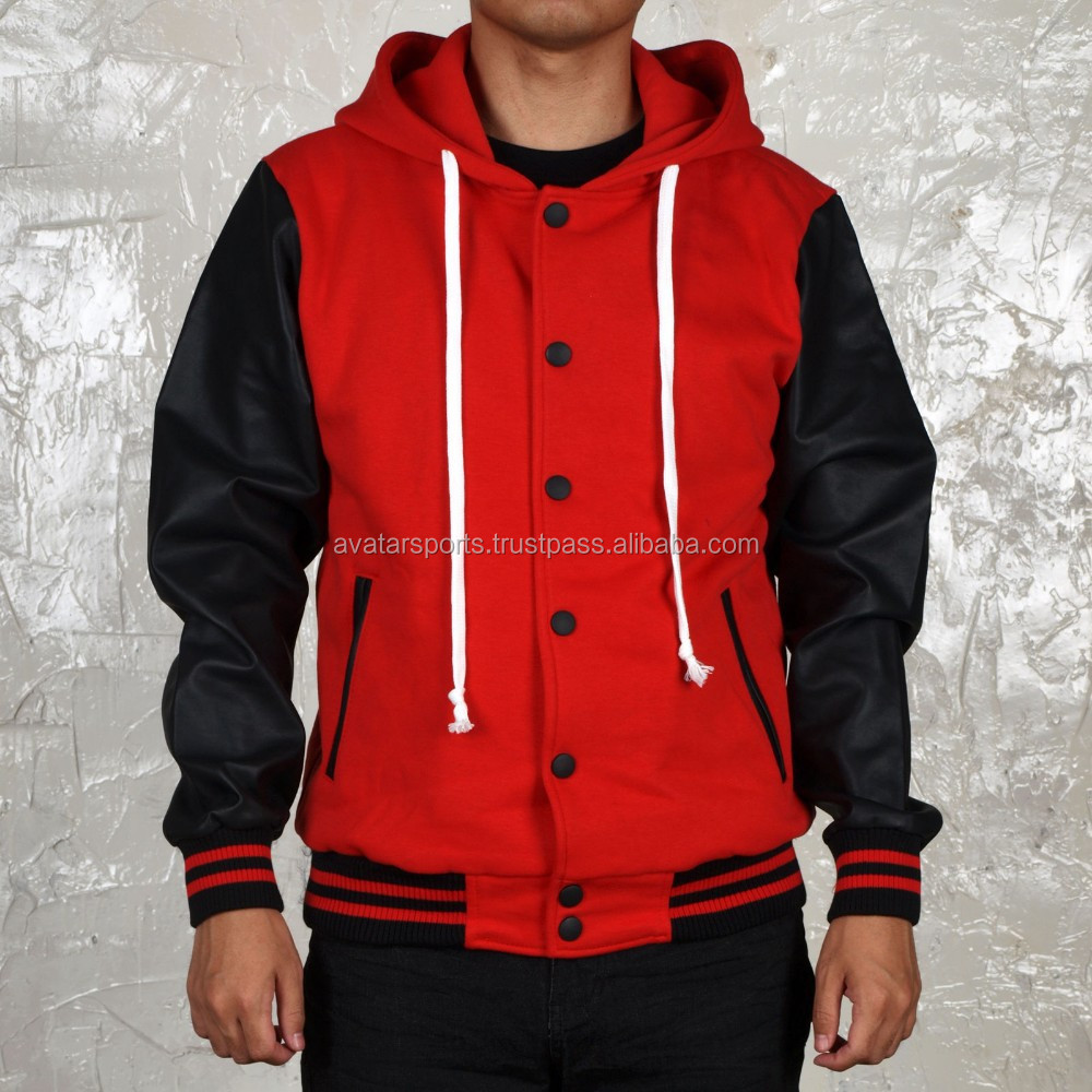 Black And Red Varsity Jackets With Hoodie Buy Black And Red