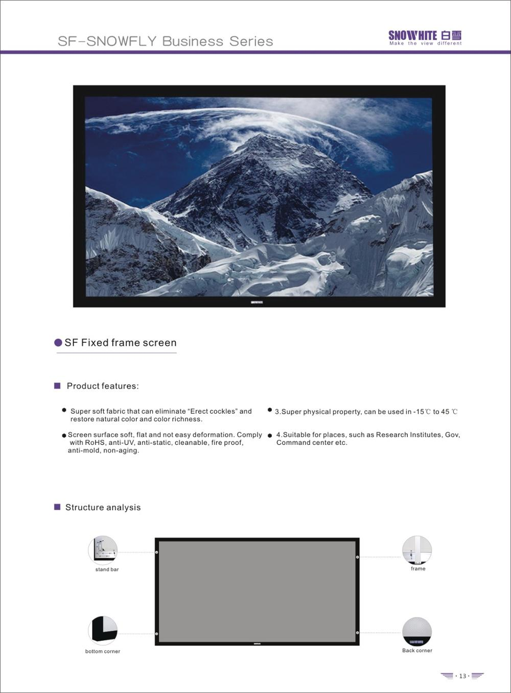 "SNOWHITE 138"" 16: 9 SF120BFH-C(V) Fixed frame screen home cinema projector screen"