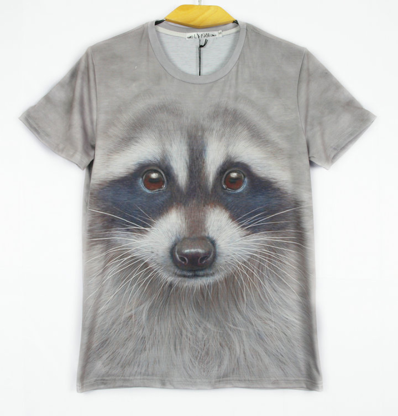 adc89943dd Get Quotations · Raisevern fashion men s tshirts cute animal deisgn Raccoon  Face 3D print t-shirt men
