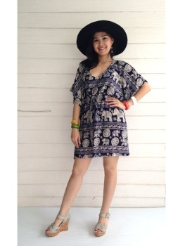Wholesales Cheap hawaiian Beach Comfy Woman Butterfly Kimono mini Dress