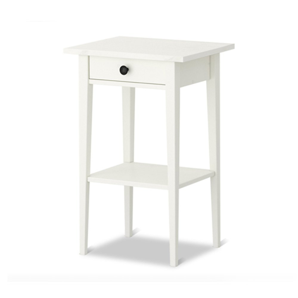 PM-Nightstands Bedside Cabinet European Solid Wood Bedside Cabinet Bedroom Bedside Table Bedside Cabinet Lockers (Color : White)