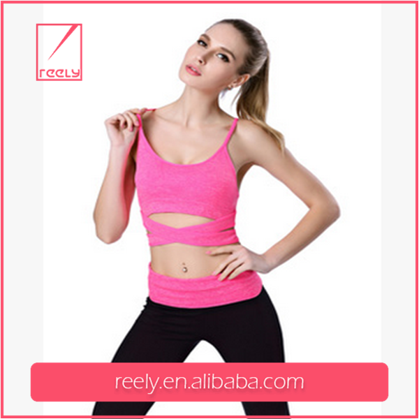 Hot sell 88%nylon+12%spandex no rims 3/4 cup pure color breathable eco-friendly women sport wear /yoga wear made in china
