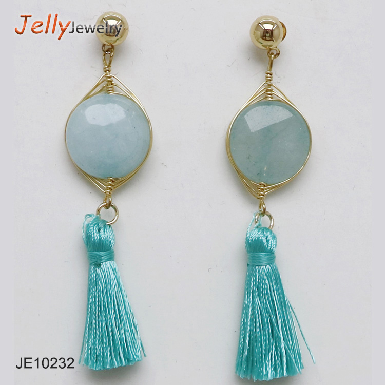 Women Long Earrings Hanging Gem Stone Drops Tassels Dangle Earring For Women Ethnic Statement Pendients Jewel