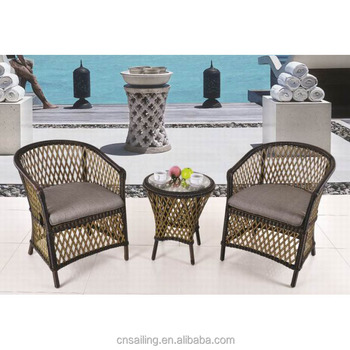Patio Furniture Outdoor Small Rattan Balcony Set Wicker Armchair And Coffee Table