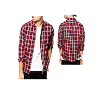 Men Fashion Slim Fit Long Sleeve Flannel Red Blue Plaid Shirt Buy