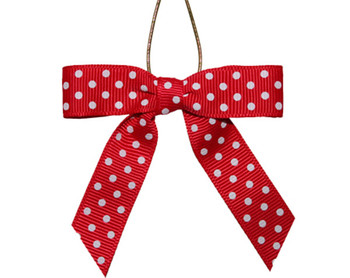 Red With White Dots Grosgrain Ribbon Bow Pre Tied Polka Dot Bows Wedding