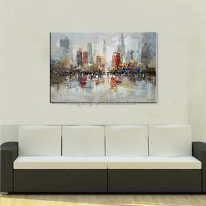 modern handmade canvas wall art painting USA hotsale abstract building oil painting art