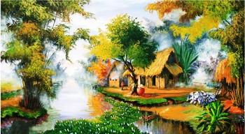 vietnam village landscape oil painting buy vietnam village oil