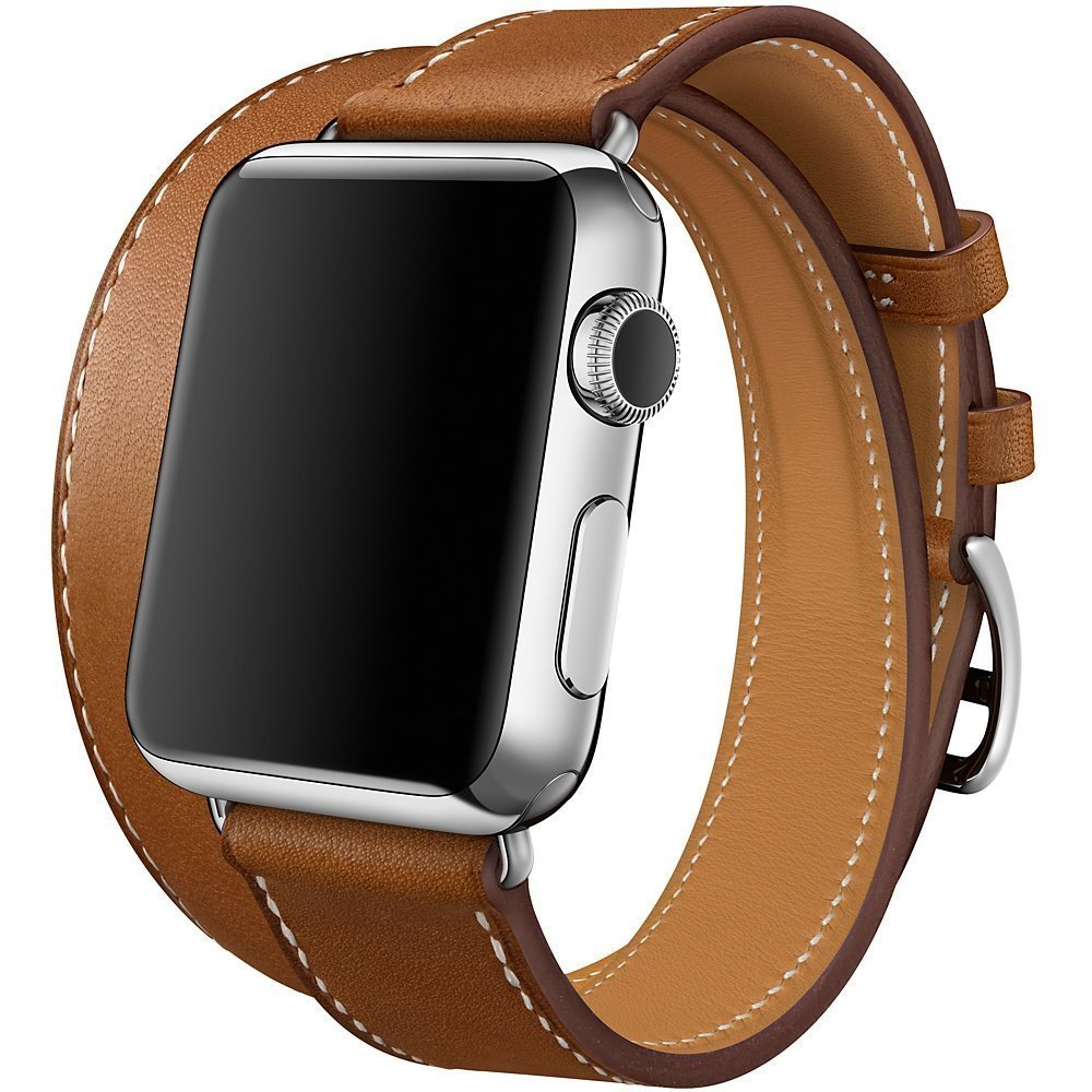 Apple Watch Band, 38mm SENTER® Luxury Genuine Leather watch Band 38mm Apple Watch Extra Long Genuine Leather Band, Double Tour Bracelet for 38mm Apple Watch