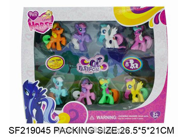 8 pcs/box PVC mini pony figures plastic 3-5cm movie action figure 12 colors pony toys for kids