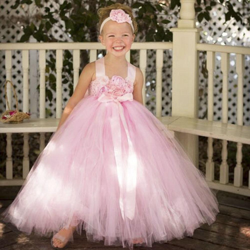 Blush Pink Flower Girl font b Dress b font with Flower Headband Princess Girls Bridesmaid Wedding