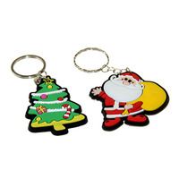 2019 Factory price no minimum custom shape 3D epoxy Christmas gifts eco-friendly soft rubber pvc keychains