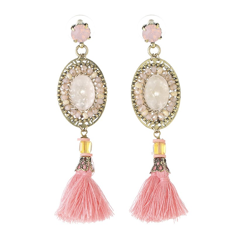 High fashion Gold Filigree Fringe Tassel fantasy theme pink earrings