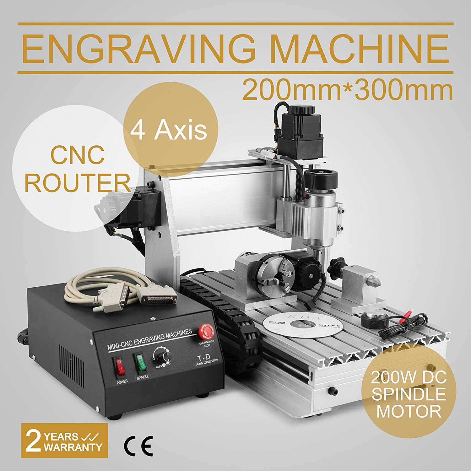 CNCShop CNC Router Engraving Machine CNC Engraver Cutting Machine 3020T 4th Axis Carving Tools Artwork Milling Woodworking (30x20cm 3020T 4 Axis)