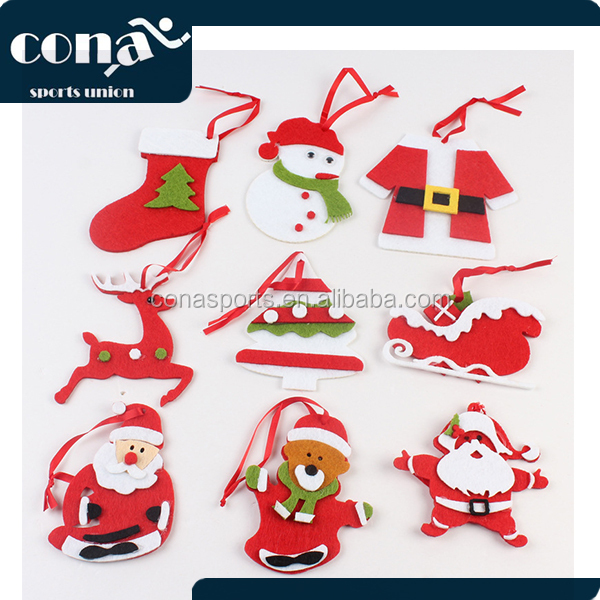 2017 Fashional Christmas Ornament Felt Christmas Tree Decorations with Different Styles