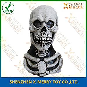 2015 - X-MERRY Top selling Eco-friendly latex full head Adult size realistic Skull Mask Deluxe Costumes Mask for all Occasions