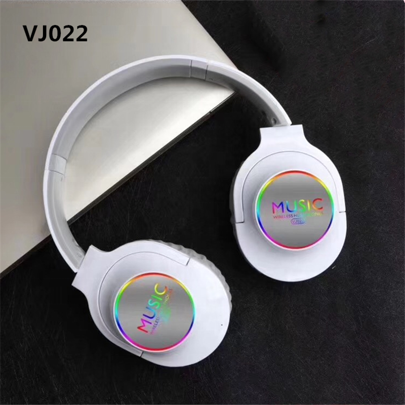 VJ022 Foldable FM Radio Blue tooth 5.0 Earphone Headphone Noise Cancelling Wireless Headset with LED Light