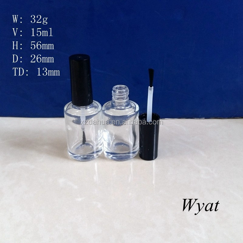 wholesale empty 15ml round nail polish bottles cosmetic small bottle with brush caps