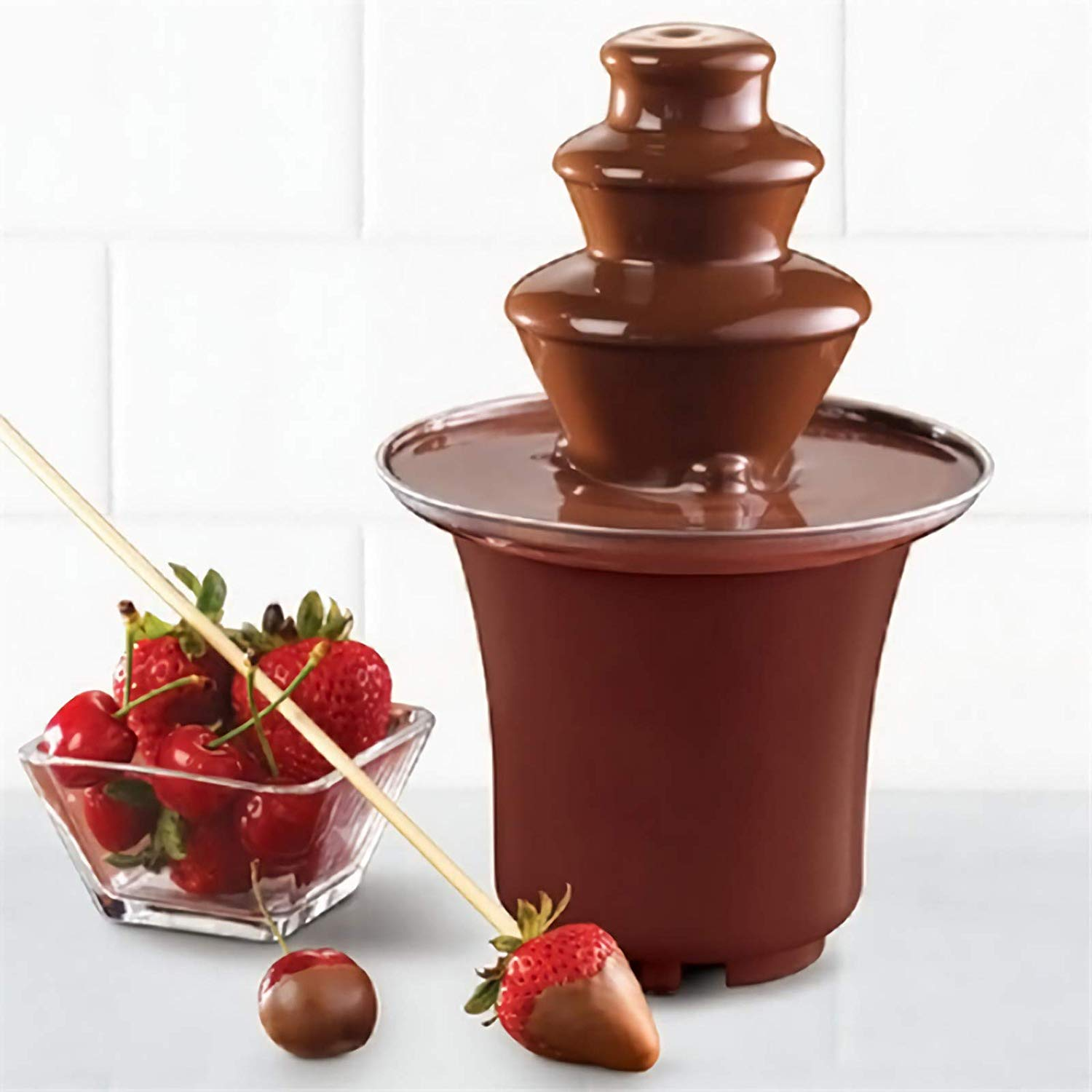 Chocolate Fondue Electric Fountain 3-Tier Melting Machine Stainless Steel Pots Dessert for Melted Chocolate, Candy, Butter, Cheese, Caramel Dip Mini Size, 1.5-2 Pound Capacity