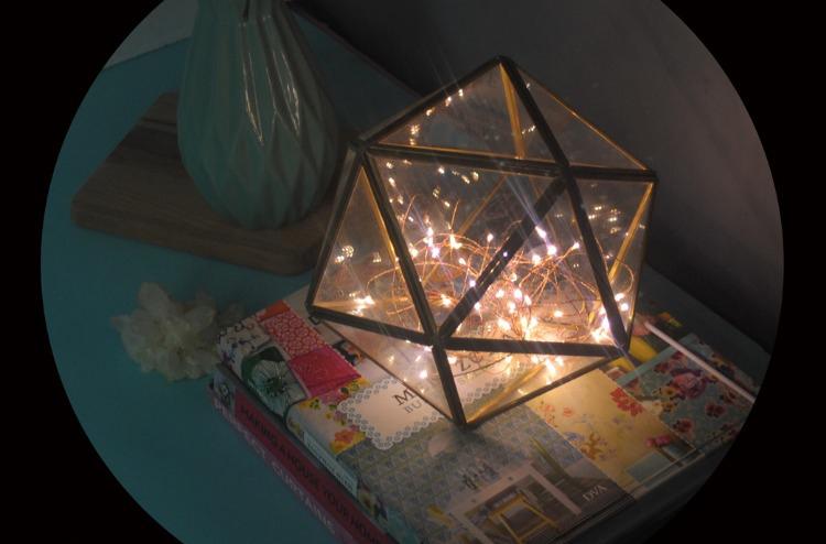 Creative gift Xmas decorative glass dome cover hanging geometricfire tree silver flower light night light 3