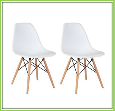 White Armless Plastic Dining Chairs Modern with Natural Wood Legs