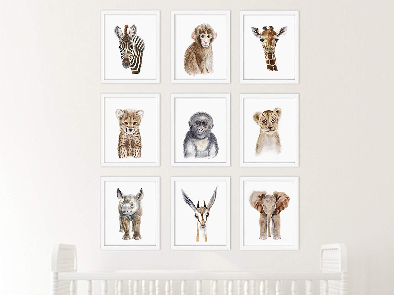 Safari Nursery Print Set of 9 Prints, Wildlife Portraits, Jungle Baby Animal Prints: Lion, Giraffe, Elephant, Zebra, Monkey, Cheetah, Gorilla, Antelope, Rhino - Different Sizes Available