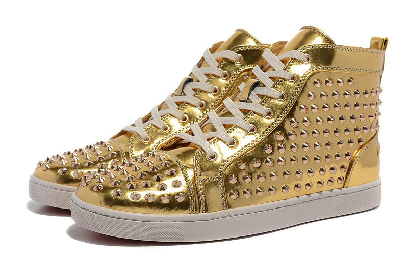 Red bottom men shoes gold fashion leather high spike men's