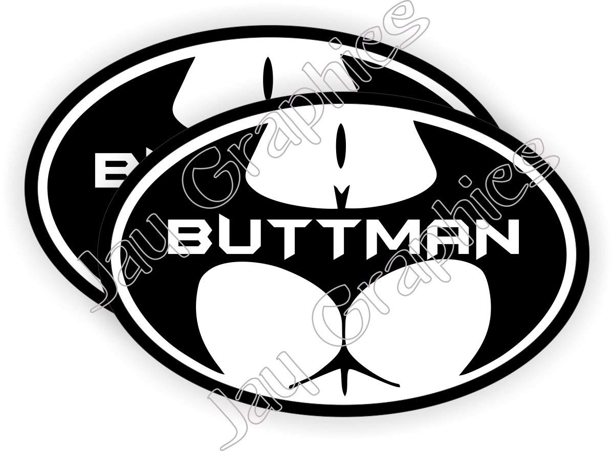 2x Buttman Funny Sexy Hard Hat Stickers Motorcycle Welding Helmet Decals Labels Badges Toolbox Laborer Construction Trucker Foreman Plumber Scaffold