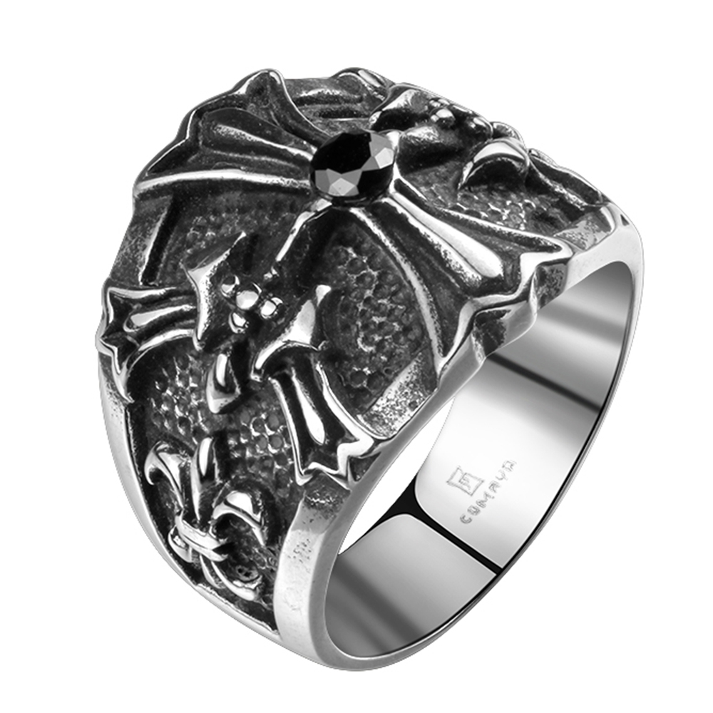 Cross Black Stone Punk Jewelry Design Your OwnStainless Steel Rings