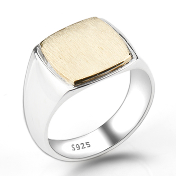 925 Sterling Silver Simple Elegant Gold Color Square Plating Brushed Men Wedding Engagement Jewelry Man Ring