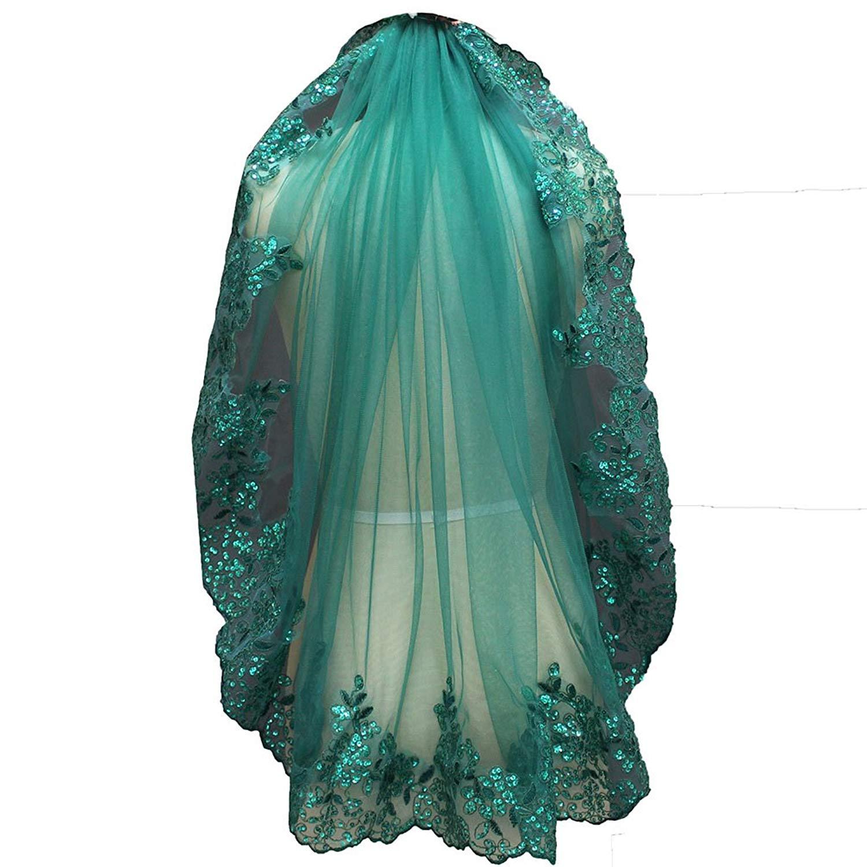 "MERMAIDFUN Short Green Wedding Veil 1 Tier Sequins Lace Edge Bridal Veil 36"""