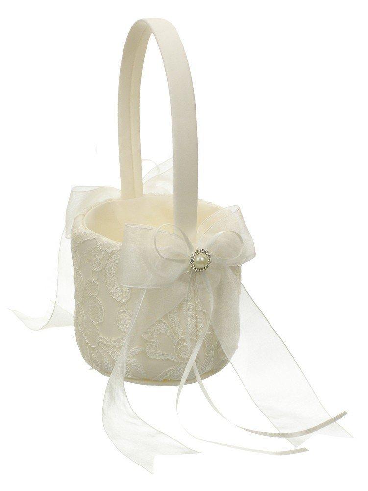 Wedding Flower Girl Basket Embroidery Chiffon Ribbon Crystal Framed Faux Pearl - Ivory