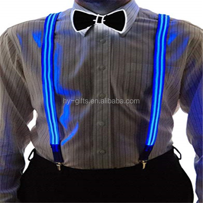 Kustom Colorful Olahraga Nilon LED Sabuk Suspender Pria Safety Bersinar Gelap Pesta LED Suspender
