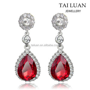 2017 Wedding jewelry red stone drop bridal earrings