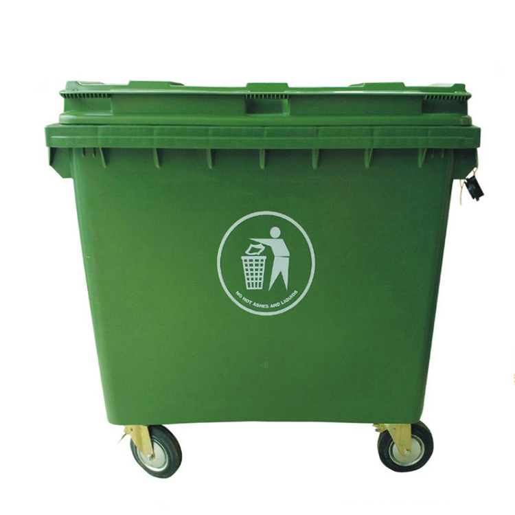 1100L plastic mobile garbage trash bin big size waste recycle plastic dustbin