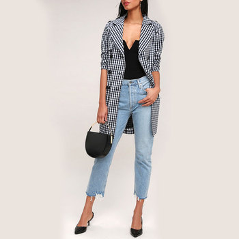 772b619aace Factory Designs Black And White Plaid Double Breasted Ladies Plus Size Long  Trench Coats With Belt
