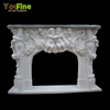 White Marble Fireplace With Baby Angel Surround For Sale