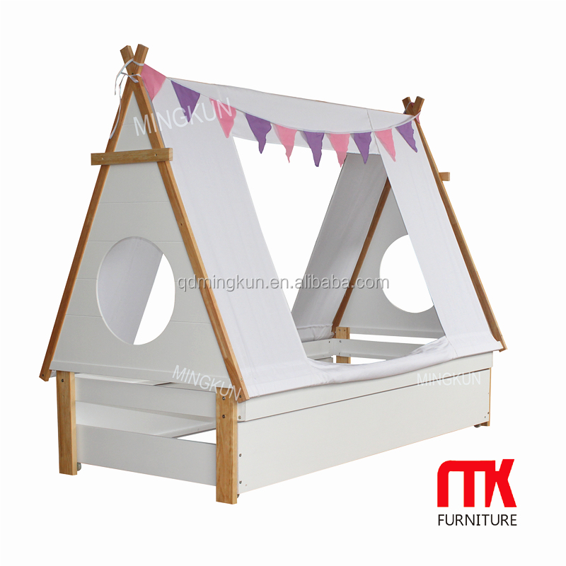 Kid's Teepee Wood Cabin Bed White Tipi Childrens Bed with fabric