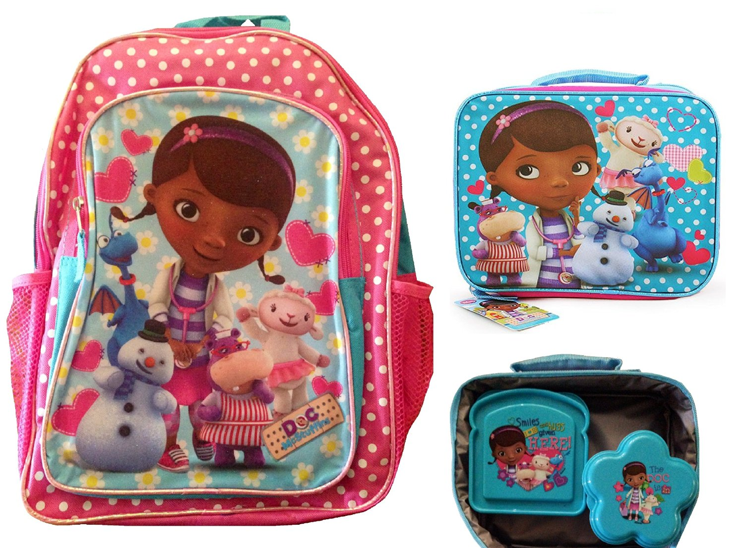Doc Mcstuffins School Backpack with Lunch Bag, Sandwich Container and Flower Snack and Store