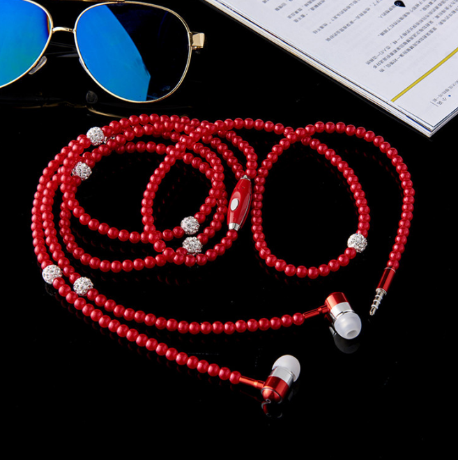 New creative handmade pearl necklace earphones heavy bass phone headset factory direct sale