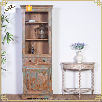 Antique French Recycled Reclaimed Wood Bookshelf Wine Cabinet